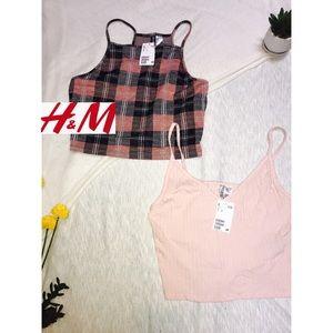 H&M Divided Crop Tops - Pink & Black